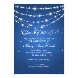 Elegant Graduation Party Sparkling Chain Blue Card