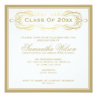 Elegant Graduation Party Vintage Swirls Gold Invitation
