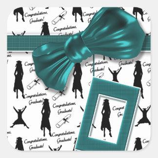 Elegant graduation women - customizable square sticker