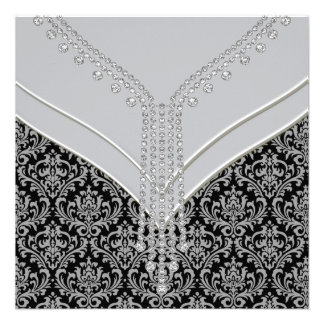 Elegant Gray and Black Damask Party Personalized Invitation