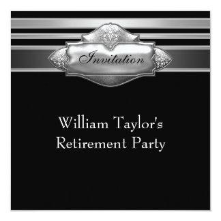 Elegant Gray and Black Mans Retirement Party 13 Cm X 13 Cm Square Invitation Card