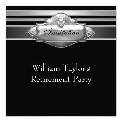 Elegant Gray and Black Mans Retirement Party Invitation