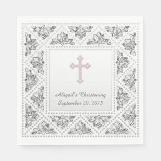 Elegant Gray and Pink Cross Paper Napkin