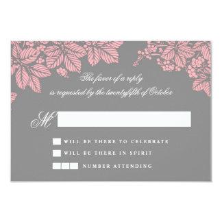 elegant gray and pink wedding RSVP cards 9 Cm X 13 Cm Invitation Card