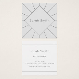 Elegant gray and white square business cards