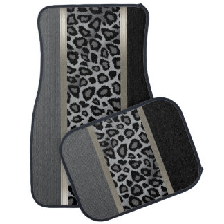 Elegant Gray, Black and Leopard Animal Design Car Mat