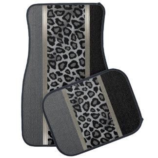 Elegant Gray, Black and Leopard Animal Design Floor Mat