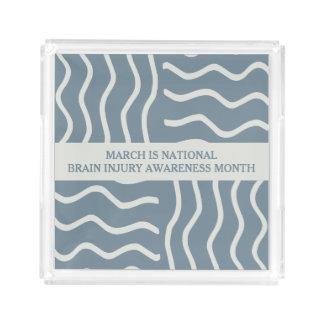 Elegant Gray Brain Injury Awareness Month Acrylic Tray