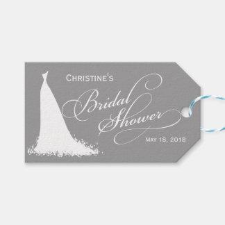 Elegant Gray Bride Bridal Shower Favor Gift Tags