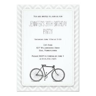 Elegant Gray Chevron Vintage Bicycle Birthday 13 Cm X 18 Cm Invitation Card