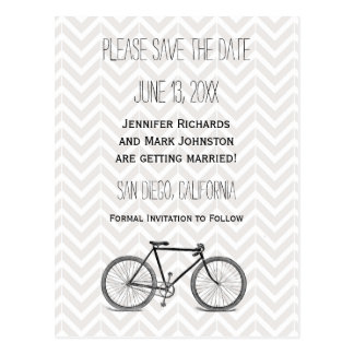 Elegant Gray Chevron Vintage Bicycle Save the Date Postcard