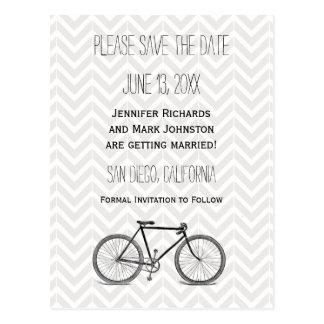 Elegant Gray Chevron Vintage Bicycle Save the Date Postcard