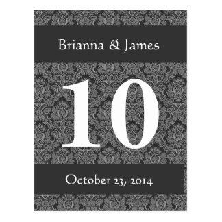 Elegant Gray Damask Wedding Table Number Postcard