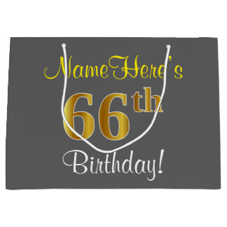 Elegant, Gray, Faux Gold 66th Birthday + Name Large Gift Bag