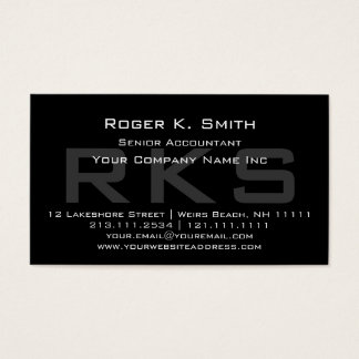 Elegant Gray on Black Monogram Classic Business Card