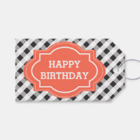 Elegant Gray Orange Personalized Happy Birthday Pack Of Gift Tags