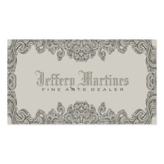 Elegant Gray Ornate Victorian Swirls Frame Pack Of Standard Business Cards