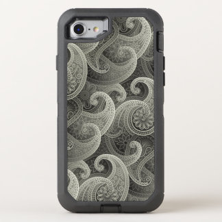 Elegant Gray Paisley Fantasy Pattern OtterBox Defender iPhone 7 Case
