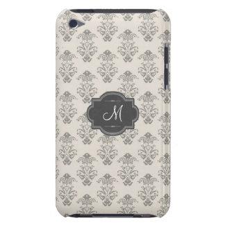 Elegant Gray Pattern Custom Monogram iPod Case-Mate Case