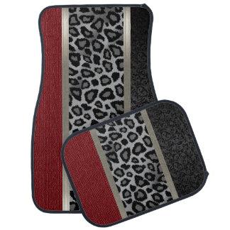 Elegant Gray, Red and Leopard Animal Design Floor Mat