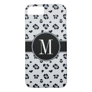 Elegant Gray Snow Leopard Cool Silver Monogram iPhone 8/7 Case