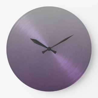Elegant Gray to Purple Ombre Gradient Large Clock