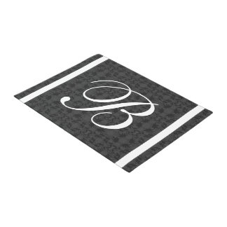 Elegant Gray White And Black Monogram Doormat