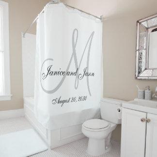 Elegant Gray White Monogram Names Wedding Shower Curtain