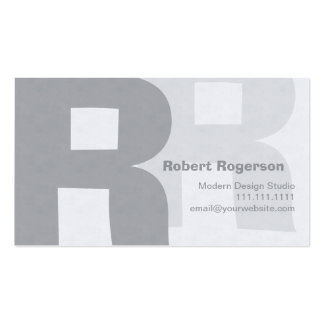 Elegant Grays Retro Big Double Letter R Business Card Templates