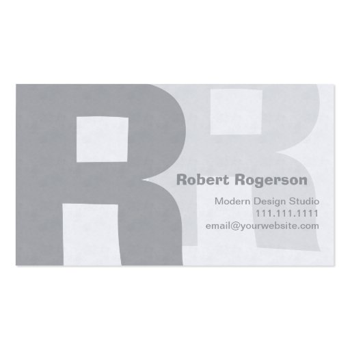 Elegant Grays Retro Big Double Letter R Business Card Templates