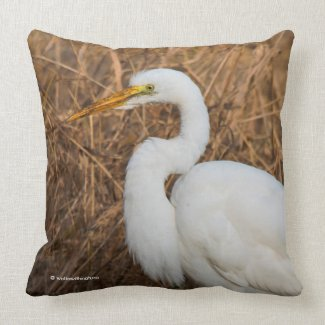 Elegant Great Egret in the Reeds Cushion
