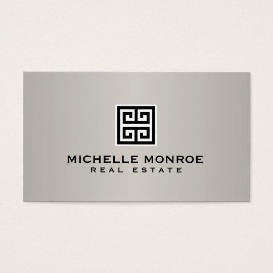 Elegant Greek Key Real Estate Logo Black/Grey Business Card