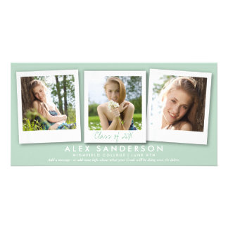 Elegant Green 3 Photo Graduation Announcement Card