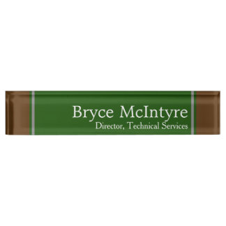 Elegant Green and Brown Nameplate For Your Office