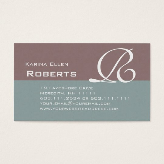 Elegant Green and Brown Textured Monogram Classic Business