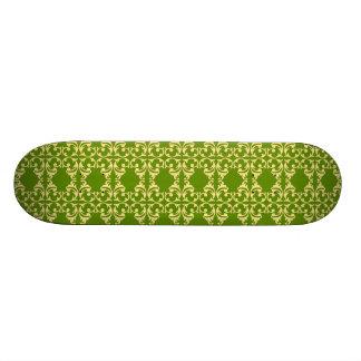 Elegant Green and Cream Damask Swirls Pattern Skate Board Decks