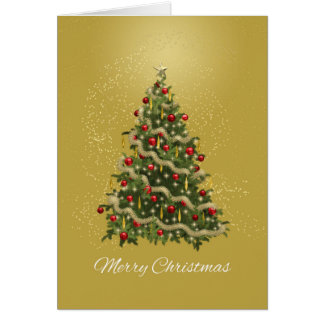 Elegant Green and Gold Christmas Tree Greeting Card