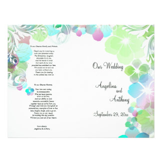 Elegant Green And Multi Color Pansies With Swirls 21.5 Cm X 28 Cm Flyer