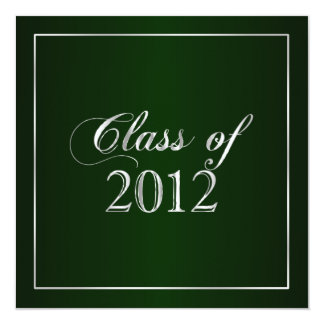 Elegant Green and Silver Class of 2012 Invitation