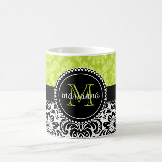 Elegant Green Black Damask Personalized Coffee Mug