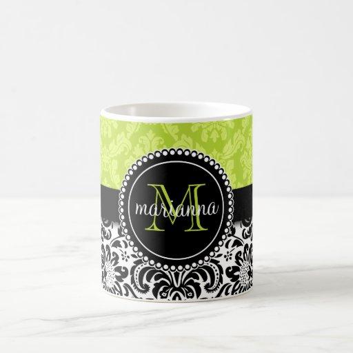 Elegant Green Black Damask Personalized Coffee Mugs