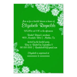 "Elegant Green Bridal Shower Invitations 5"" X 7"" Invitation Card"