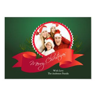 Elegant Green Christmas Holiday Photo Card Custom Announcement