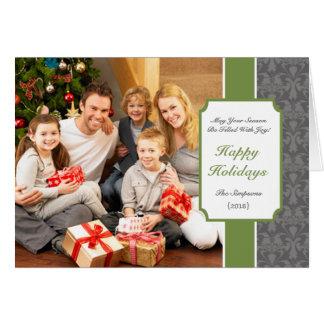 Elegant Green Damask Folded Christmas Card