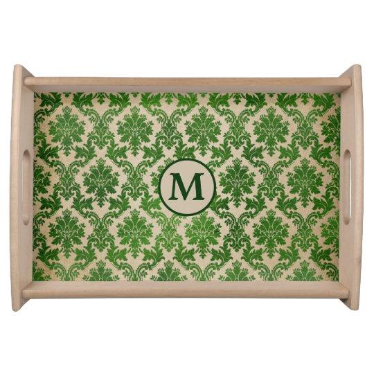 Elegant Green Damask Monogram Serving Tray