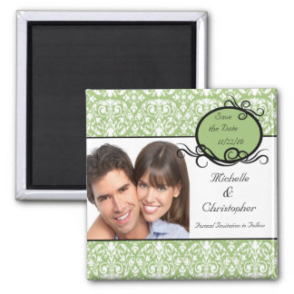 Elegant Green Damask Photo Save The Date Magnet
