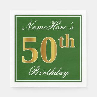 Elegant Green, Faux Gold 50th Birthday + Name Disposable Serviette