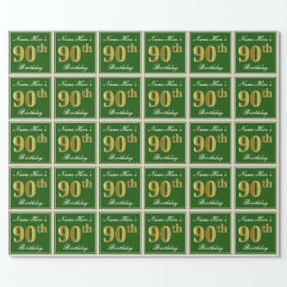 Elegant, Green, Faux Gold 90th Birthday + Name Wrapping Paper
