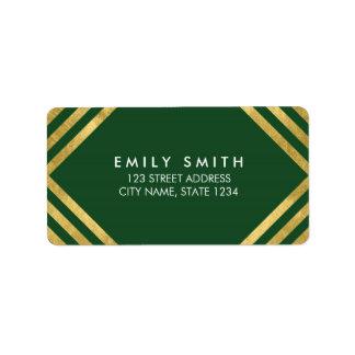 Elegant Green Faux Gold Geometric Lines Address Address Label