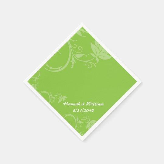 Elegant Green Floral Custom Wedding Napkin Disposable Serviettes
